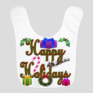 Happy Holidays Cane FB Polyester Baby Bib