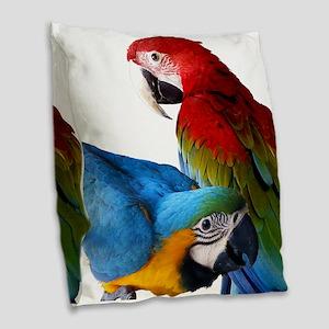2 Macaws Burlap Throw Pillow