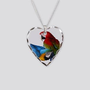 2 Macaws Necklace Heart Charm