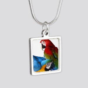2 Macaws Silver Square Necklace