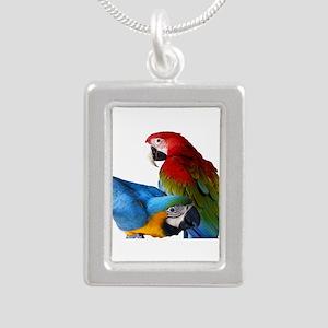 2 Macaws Silver Portrait Necklace