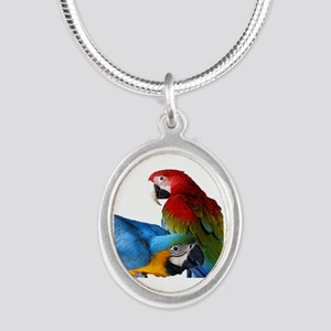 2 Macaws Silver Oval Necklace