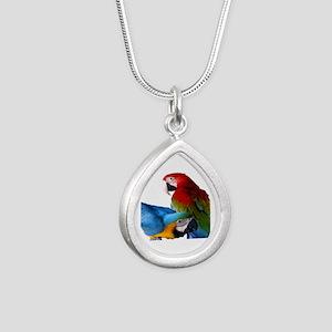 2 Macaws Silver Teardrop Necklace