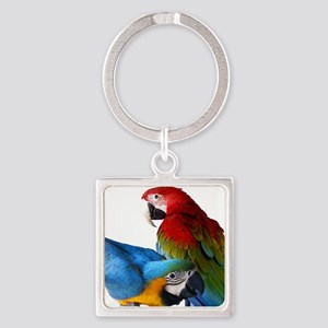 2 Macaws Square Keychain