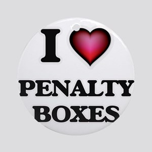 I Love Penalty Boxes Round Ornament