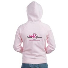 Simple Pink Ribbon Logo Women's Zip Hoodie