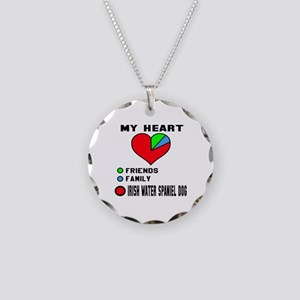 My Heart, Friends, Family Ir Necklace Circle Charm