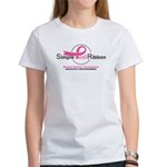 Simple Pink Ribbon Logo Women's T-Shirt