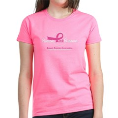 Simple Pink Ribbon Logo T-Shirt