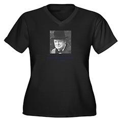 Churchill Women's Plus Size V-Neck Dark T-Shirt