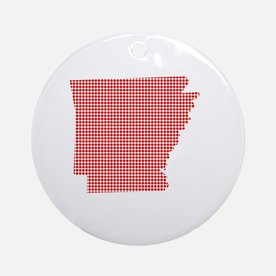 Red Dot Map of Arkansas Round Ornament