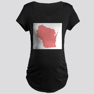 Red Dot Map of Wisconsin Maternity T-Shirt