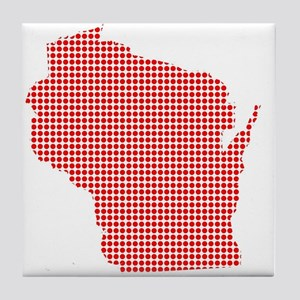 Red Dot Map of Wisconsin Tile Coaster