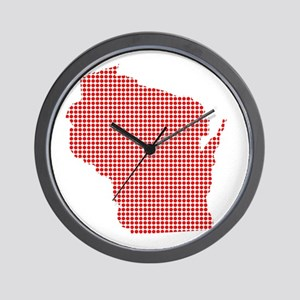 Red Dot Map of Wisconsin Wall Clock