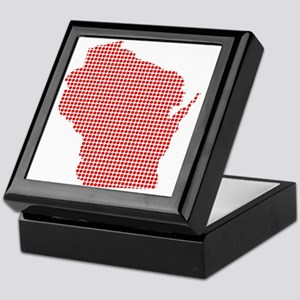 Red Dot Map of Wisconsin Keepsake Box