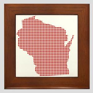 Red Dot Map of Wisconsin Framed Tile