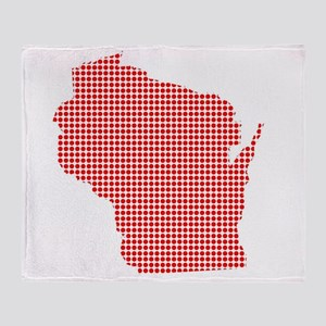 Red Dot Map of Wisconsin Throw Blanket