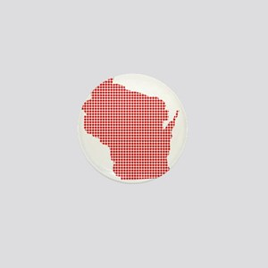 Red Dot Map of Wisconsin Mini Button