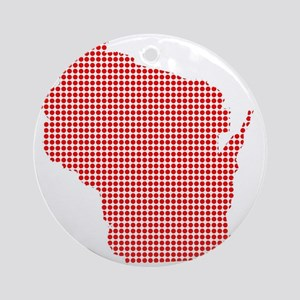 Red Dot Map of Wisconsin Round Ornament