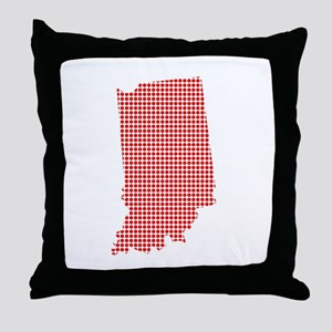Red Dot Map of Indiana Throw Pillow