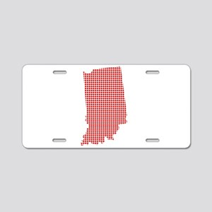 Red Dot Map of Indiana Aluminum License Plate
