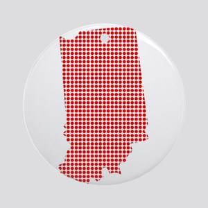 Red Dot Map of Indiana Round Ornament