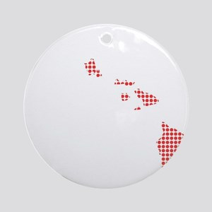 Red Dot Map of Hawaii Round Ornament