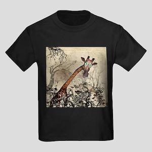 Funny, cute giraffe with fantasy flowers T-Shirt