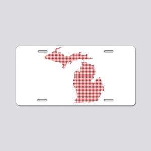 Red Dot Map of Michigan Aluminum License Plate