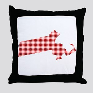 Red Dot Map of Massachusetts Throw Pillow