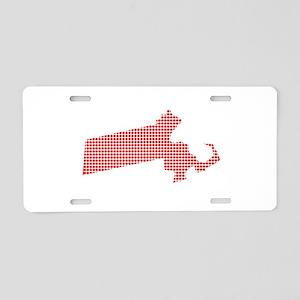 Red Dot Map of Massachusett Aluminum License Plate