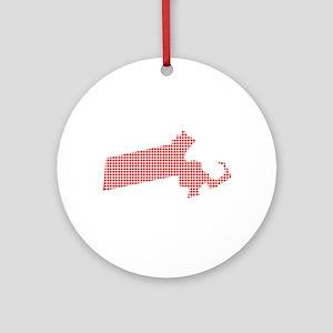 Red Dot Map of Massachusetts Round Ornament
