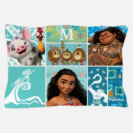 Moana Collage Monogrammed Pillow Case