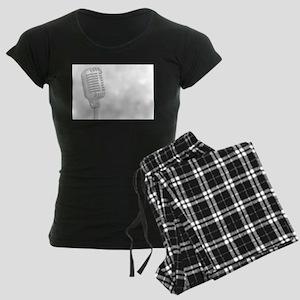 Grey Microphone Background Women's Dark Pajamas