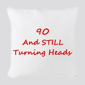 90 Still Turning Heads 1C Red Woven Throw Pillow