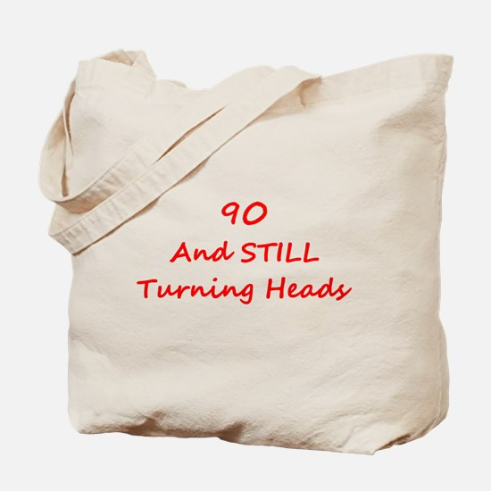 90 Still Turning Heads 1C Red Tote Bag