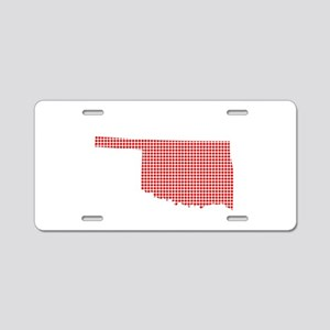 Red Dot Map of Oklahoma Aluminum License Plate