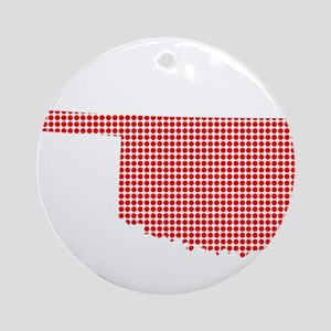 Red Dot Map of Oklahoma Round Ornament