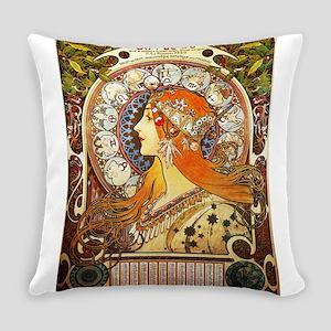 Alphonse Mucha La Plume Zodiac Art Everyday Pillow