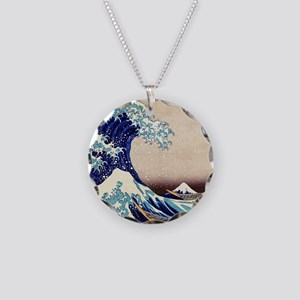 Great Wave Off Kanagawa Necklace Circle Charm