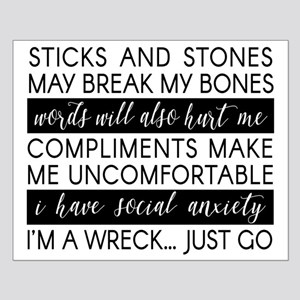 Sticks And Stones And... Anxiety Small Poster