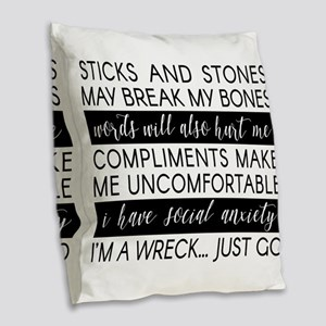 Sticks And Stones And... Burlap Throw Pillow