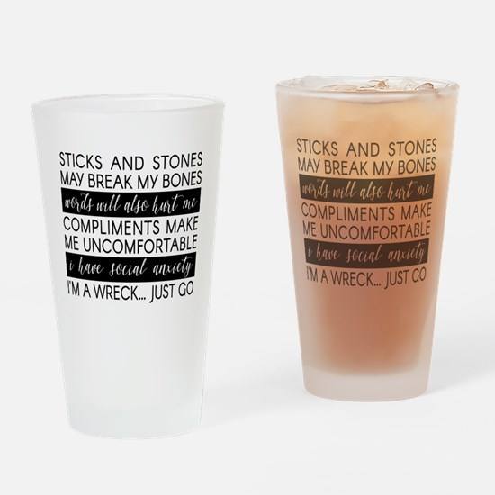 Sticks and Stones and... Anxiety Drinking Glass