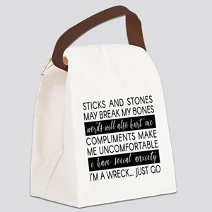 Sticks And Stones And... Anxiety Canvas Lunch Bag