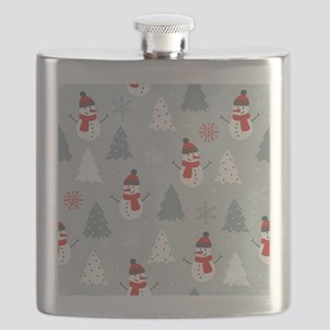 Cute Snowman & Christmas trees Colorful Flask