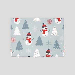 Cute Snowman & Christmas trees 5'x7'Area Rug