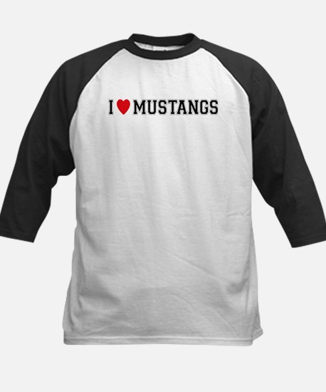 I Love Mustangs Kids Baseball Jersey