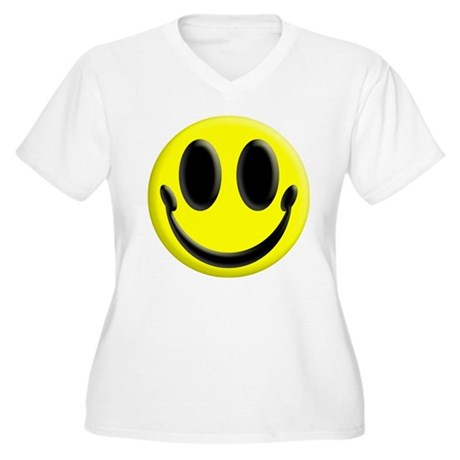 Smiley Face Women's Plus Size V-Neck T-Shirt