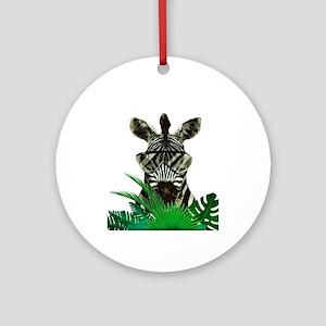 Hipster Zebra Round Ornament