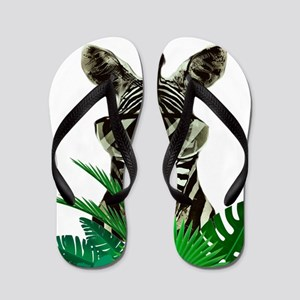 Hipster Zebra Flip Flops